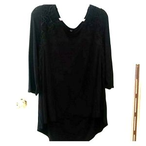 Lane Bryant black top with lace topping